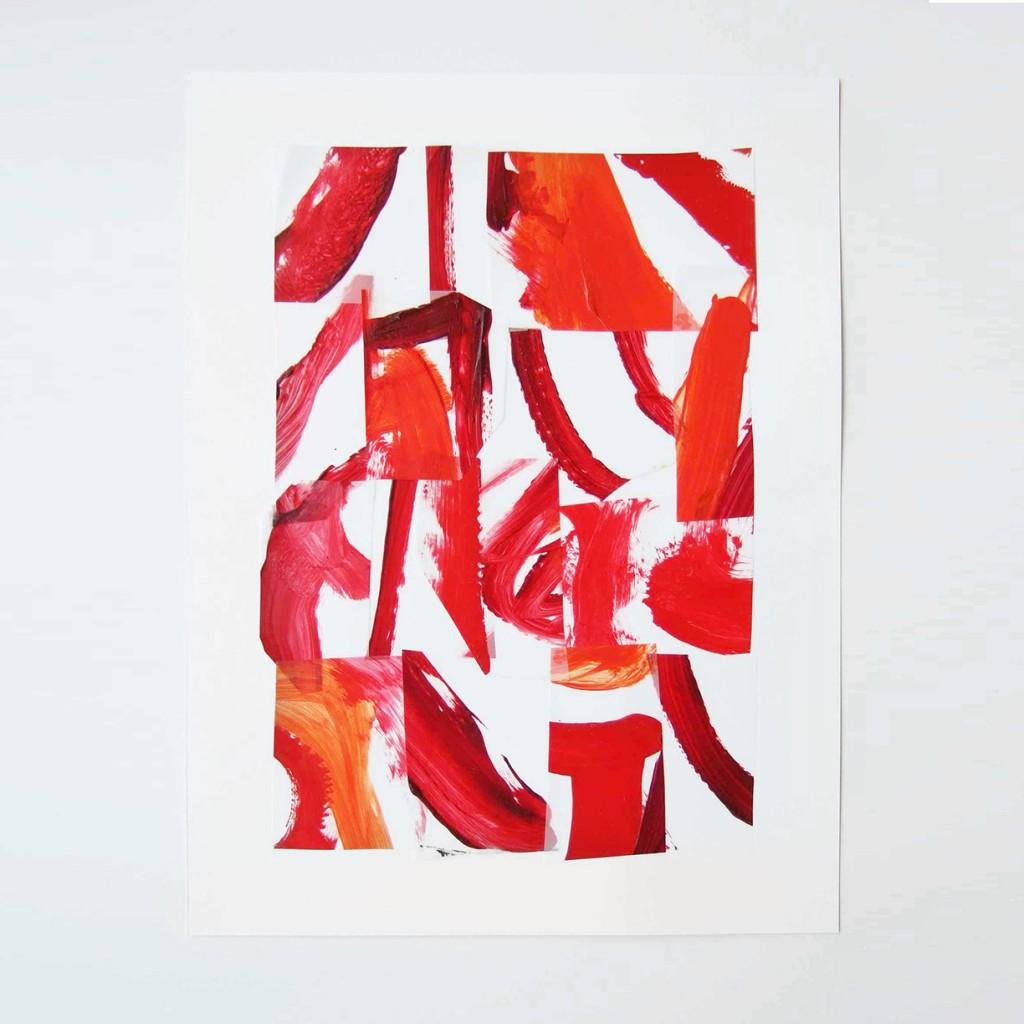 <i>Suite rouge 5</i>, acrylique sur calque polyester, 40x30cm, 2014