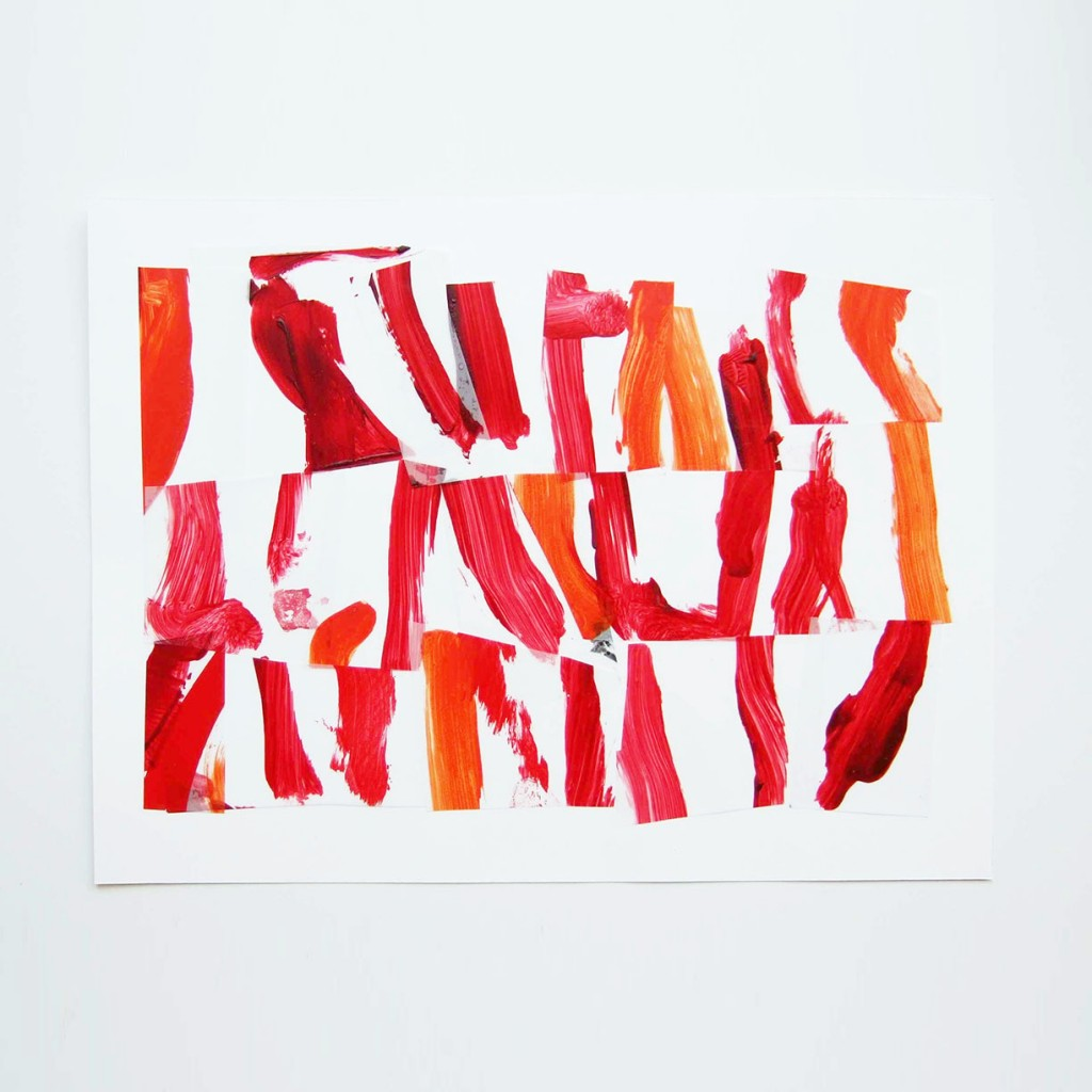 <i>Suite rouge 1</i>, acrylique sur calque polyester, 30x40cm, 2014