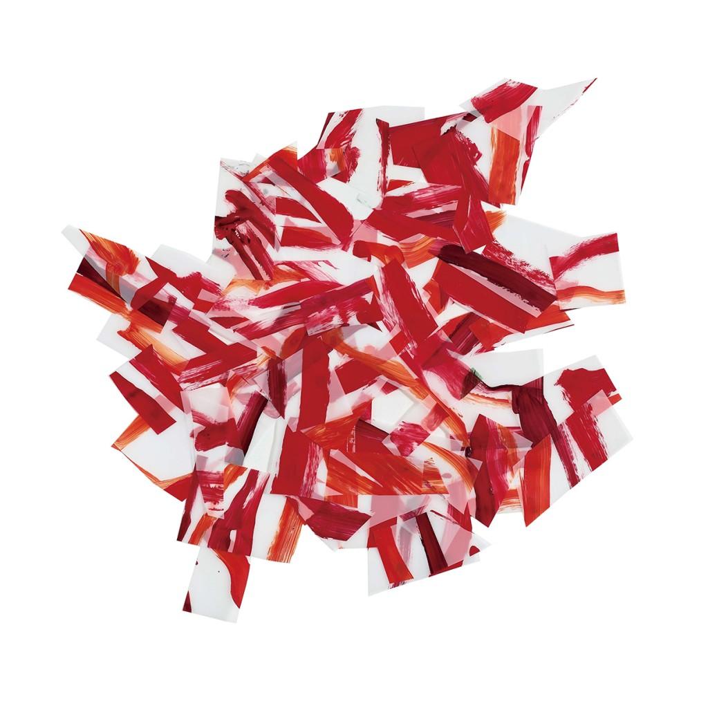 <i>Afflux rouge 1</i>, acrylique sur calque polyester, 72x73cm, 2014