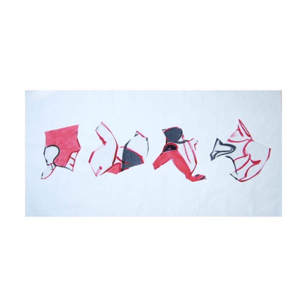 <i>Suite de 4</i>, élèments fixés sur le mur, crayon et encre sur calque, 64x219cm, 2009,
