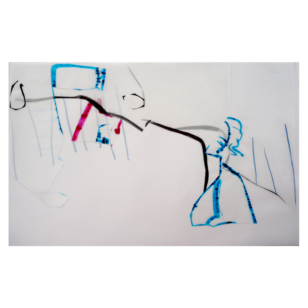 <i>Adieu</i>, crayon, encre sur calque, 72x46cm, 2008