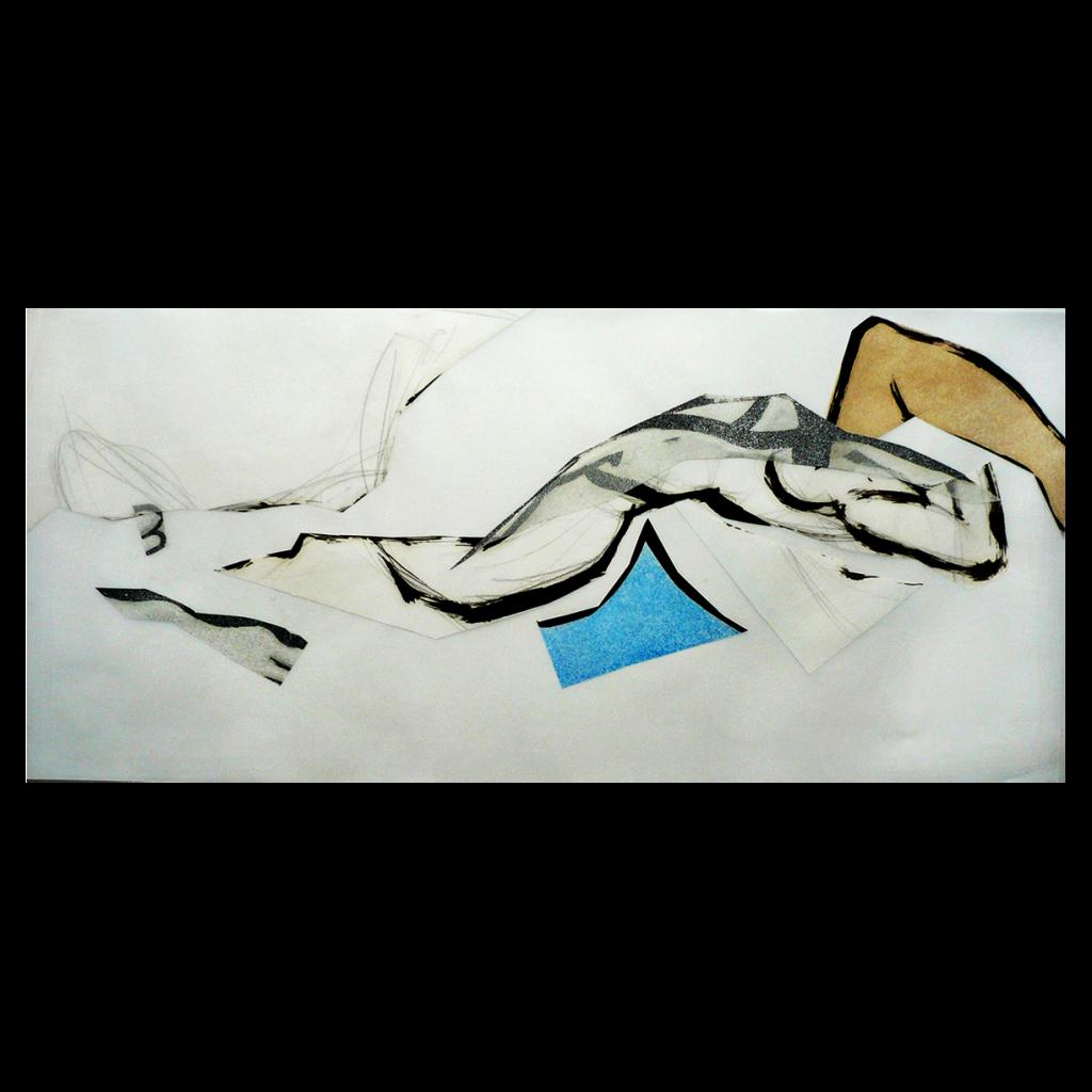 <i>Bleu et ocre</i>, crayon, huile sur calque, 40x87cm, 2008