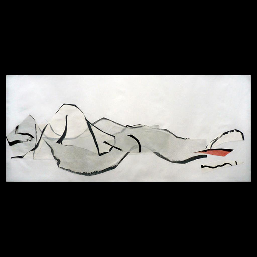<i>Horizon 1</i>, crayon, encre, huile sur calque, 36x106cm, 2008