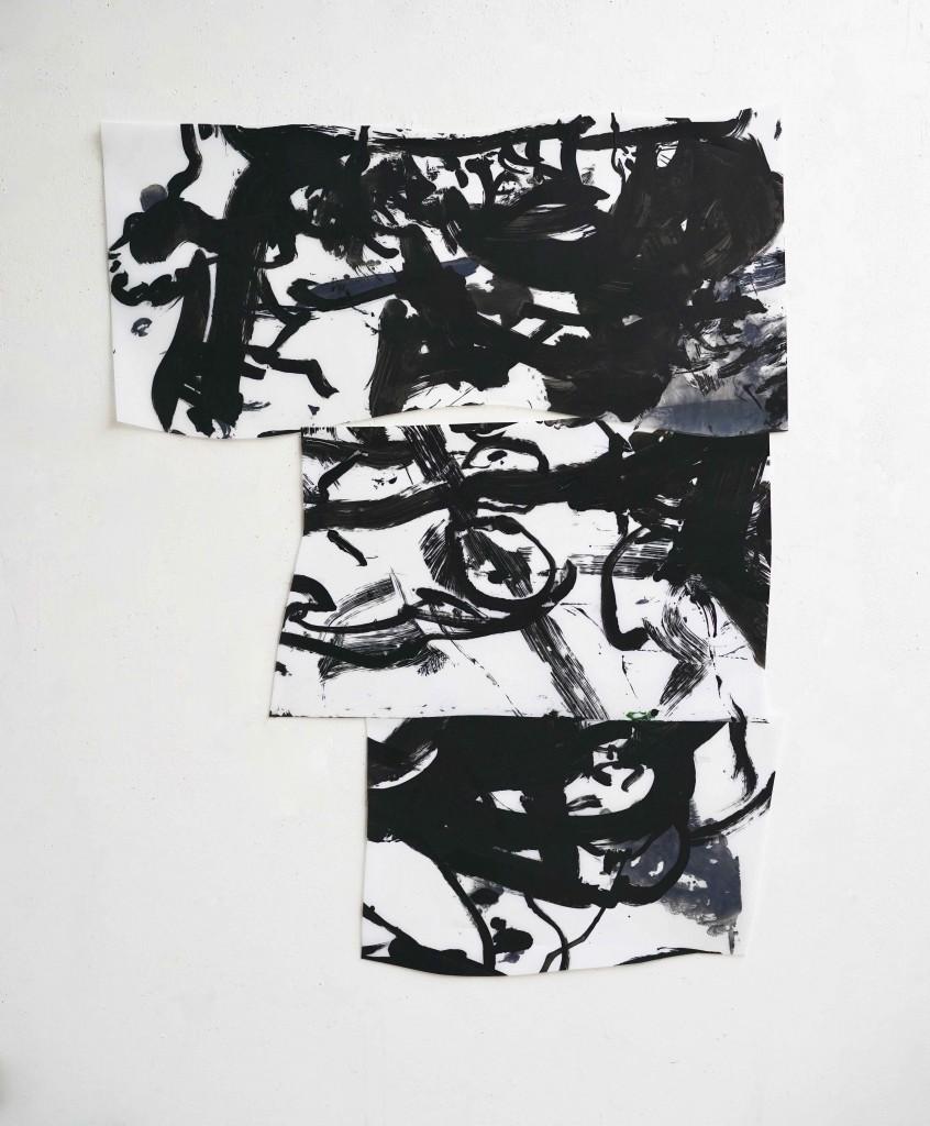 <i>Bannière</i>, encre, acrylique sur calque polyester, 120x90cm, 2016