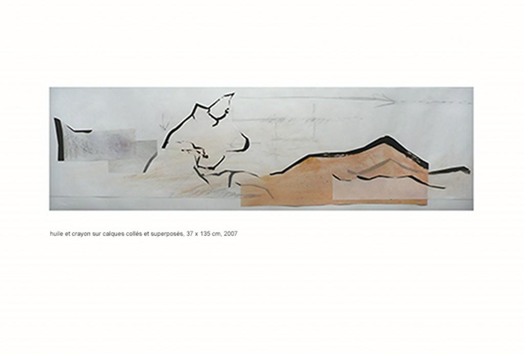 <i>FB</i>, crayon, pastel et huile sur calque, 37x137cm, 2007