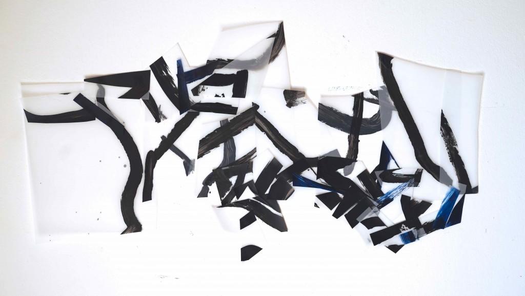 <i>Structure 1</i>, acrylique sur calque polyester, 44x83cm, 2016
