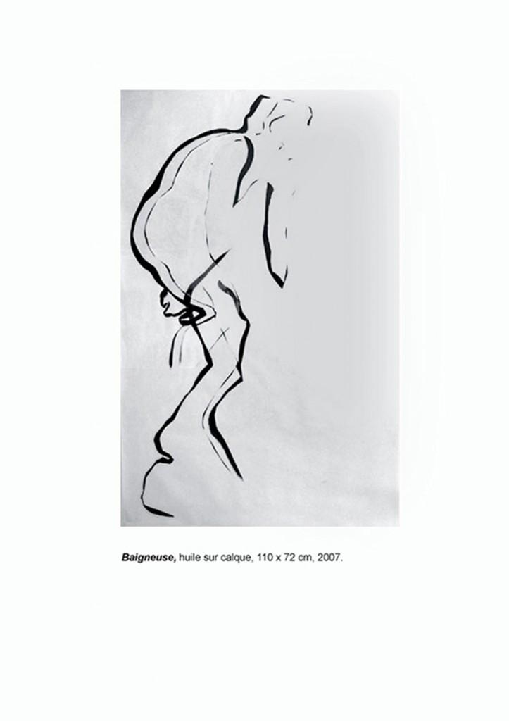 <i>Baigneuse</i>, huile sur calque, 110x72cm, 2007