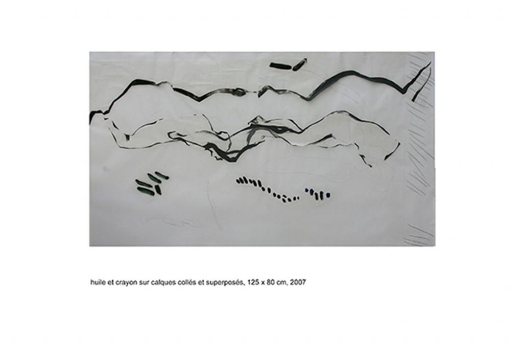 <i>Payage 2</i>, crayon et huile sur calque, 80x125cm, 2007
