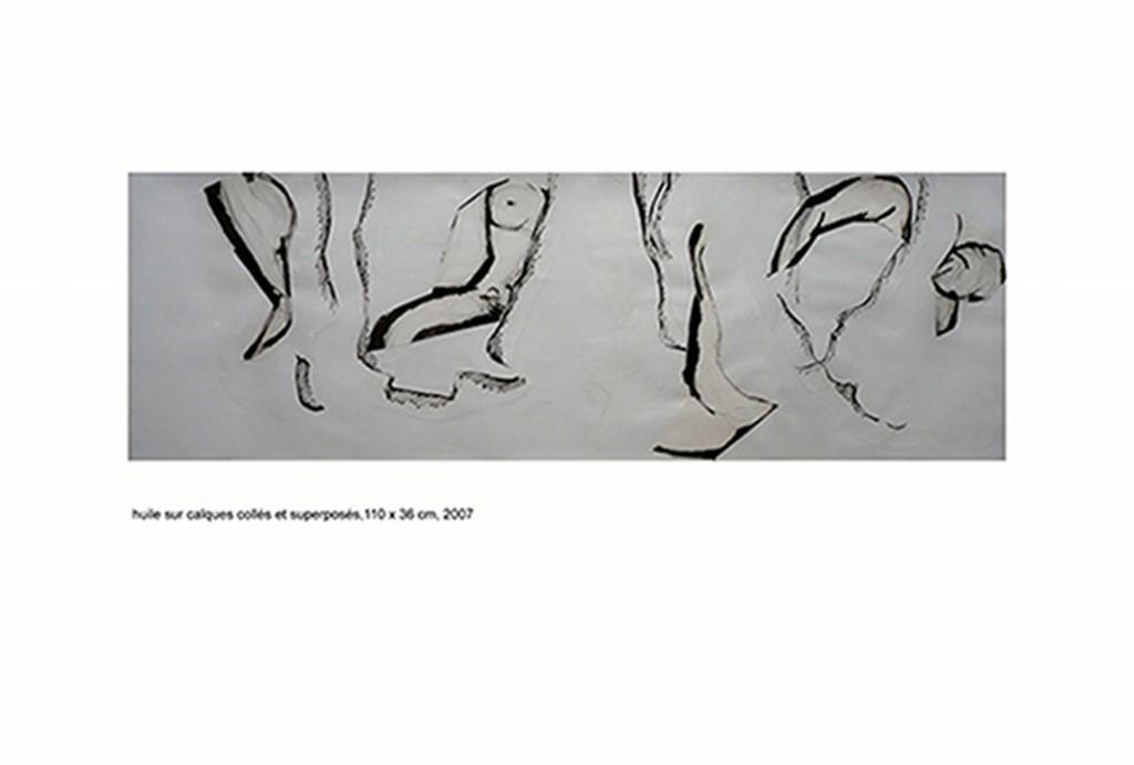 <i>Horizon</i>, crayon et huile  sur calque, 36x110cm, 2007
