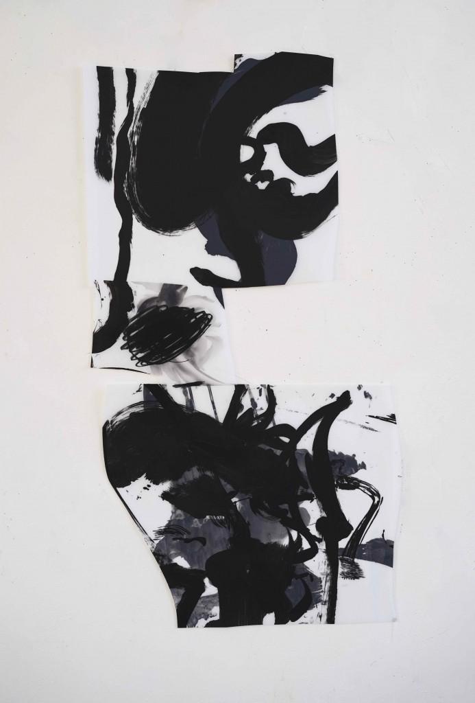 <i>Souffle 1</i>, crayon, encre, acrylique sur calque polyester, 91x52cm, 2016