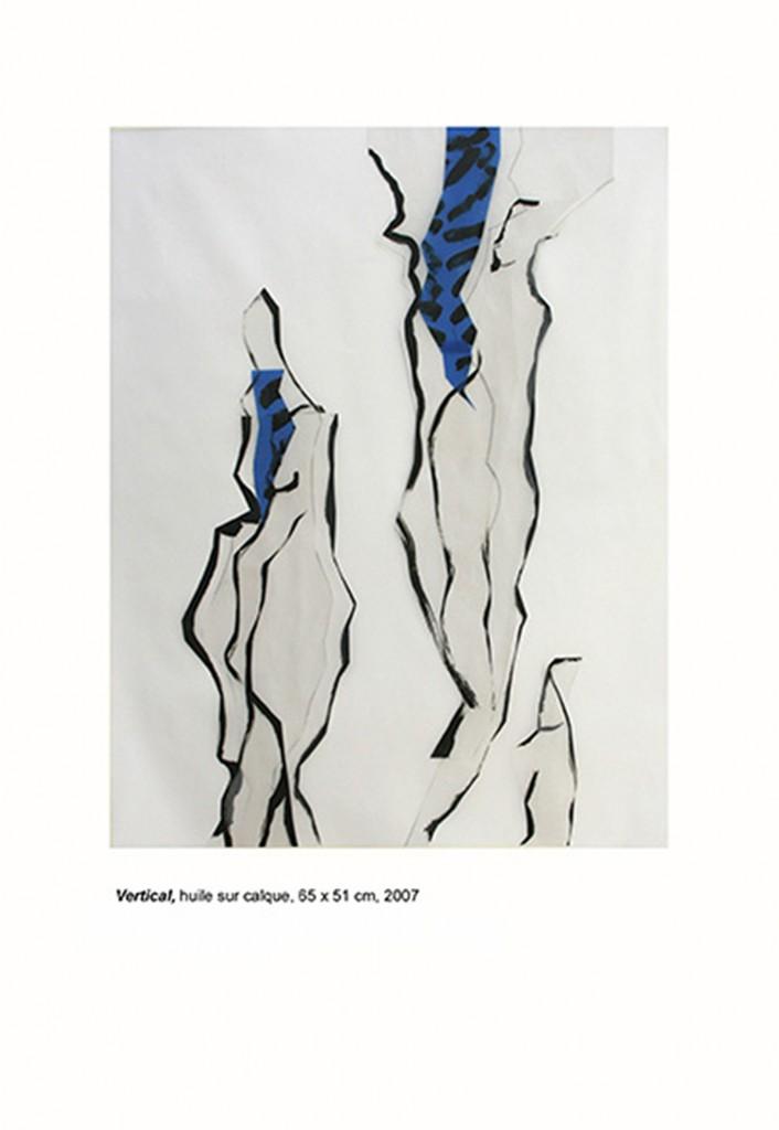 <i>Vertical</i>, huile sur calque et papier, 65x51cm, 2007