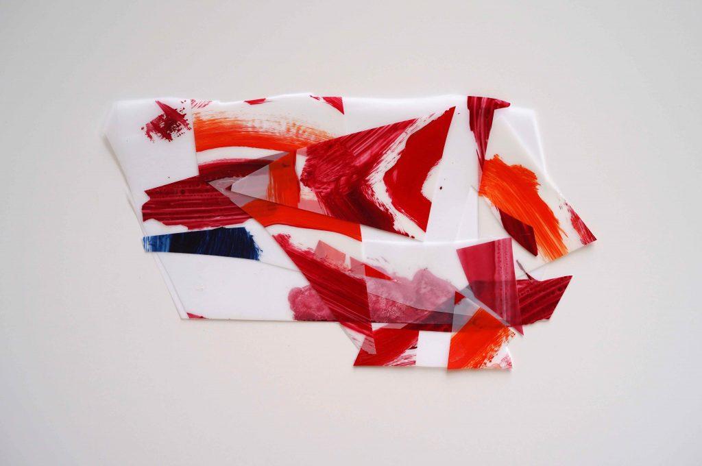 <i>Mini assemblage 19-3</i>, acrylique sur calque polyester, 19x34cm, 2019