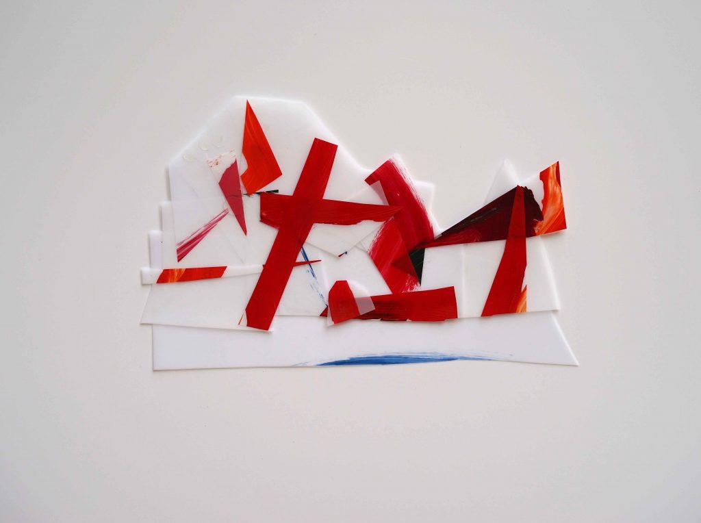 <i>Mini assemblage 19-7</i>, acrylique sur calque polyester, 18x29cm, 2019
