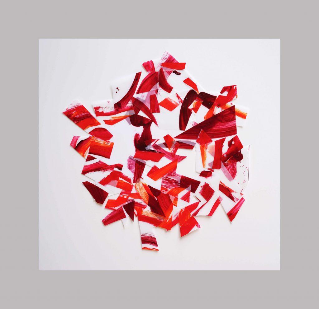 <i>Afflux 19-10</i>, acrylique sur calque polyester, 60x56cm, 2019