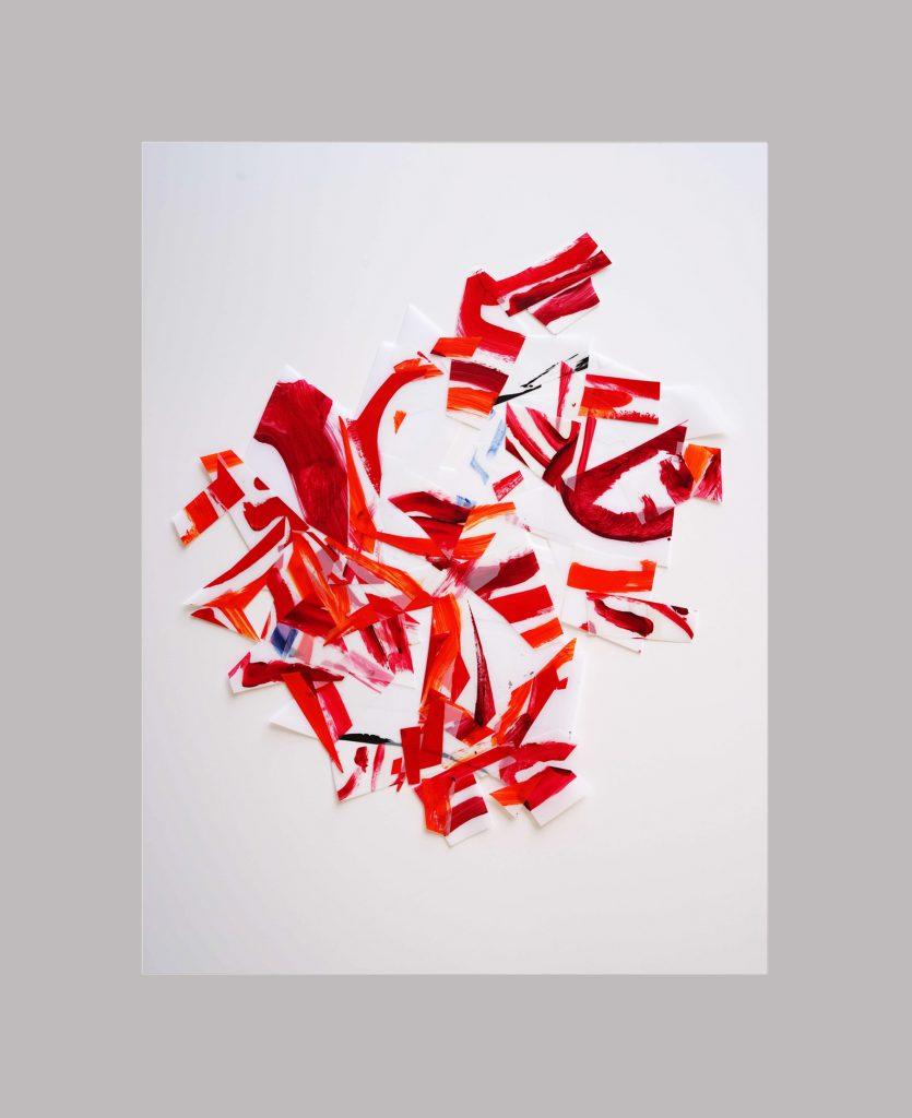 <i>Afflux 19-3</i>, acrylique sur calque polyester, 72x62cm, 2019