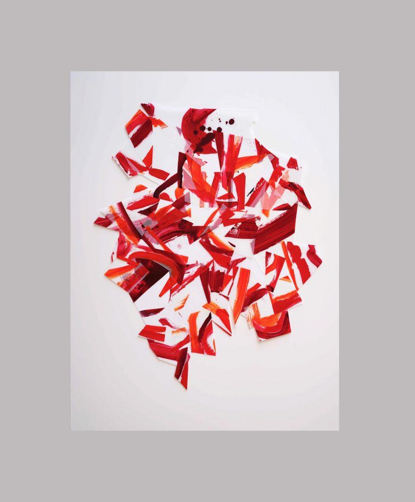 <i>Afflux 19-4</i>, acrylique sur calque polyester, 88x68cm, 2019