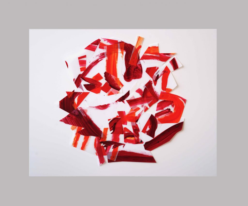 <i>Afflux 19-5</i>, acrylique sur calque polyester, 60x57cm, 2019
